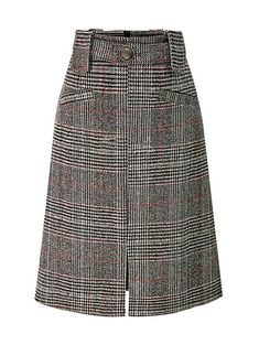 8112e22be8 Fitted Split Checkered Button Skirt