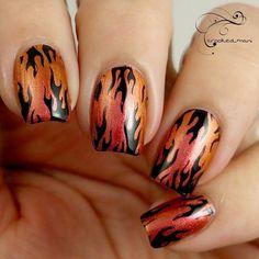 'Bonfire' nail art by @crooked_mani Multichrome polish available laqueredup.com