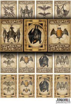 VICTORIAN BATS - Digital Printable Collage Sheet - Antique Vampire Bat Illustrations in Vintage Frames, Halloween, Instant Download