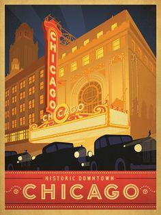 Vintage Poster - USA - Illinois - Chicago, Theatre