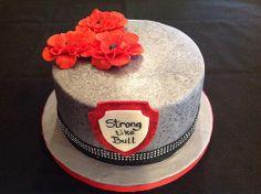 Faux granite fondant cake.