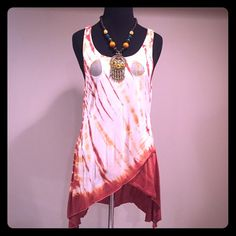 Gorgeous, long, cream and rust colored summer tank Cream and rustic colors. Three sheer tear drop cutouts on the neckline. Very soft and comfortable. Great condition (no flaws). Perfect summer dress-shirt! Pair it with some leggings and a cute boots (as shown in last picture-all those items are for sale!) Tops