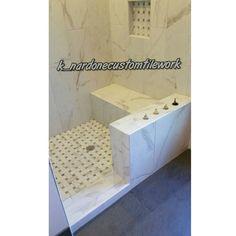 "12"" x 24 Versailles Chateaux Ivoire on vertical running bond with 1"" x 2"" versailles basket weave porcelain shower pan #tilework #tile #tiler #tiling #tilesetter #customtile #lionslub #mastertilesetter #tileporn #tileaddiction  #precisiontilework #remodeling #interior #porcelian #homeimprovement #interiordesign #tiledesign #tilerspride #porcelaintile #interceramic #tileartist #remodel by k_nardonecustomtilework"