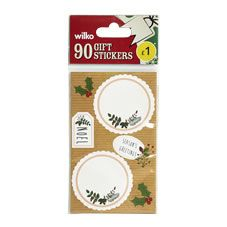 Wilko Christmas Gift Tag Stickers 90pk