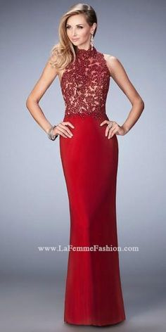 Beaded High Neck Prom Dress By La Femme  #dress #fashion #designer #lafemme #edressme
