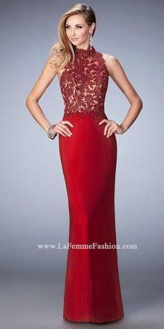 Beaded High Neck Prom Dress By La Femme  #dress #fashion #designer #lafemme #edressme