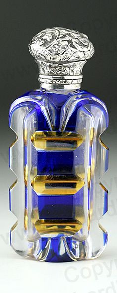 ANTIQUE c.1870 BLUE OVERLAY & YELLOW FLASHED CUT GLASS SCENT PERFUME BOTTLE, SILVER TOP. This item is sold. To visit my website to see what's in stock click here: http://www.richardhoppe.co.uk or for help or information email us here: info@richardhoppe.co.uk