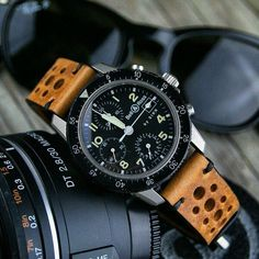 The Bell & Ross Sinn on our Oak Vintage Racing Strap