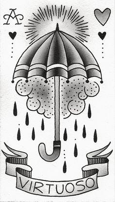 Search inspiration for a New School tattoo. Traditional Tattoo Design, Traditional Tattoo Flash, Tattoo Sketches, Tattoo Drawings, Umbrella Tattoo, Rain Umbrella, Desenhos Old School, Storm Tattoo, Tatuaje Old School