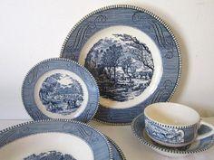 Vintage Plates Serving Currier Ives China by slatternhouse5, $4.50