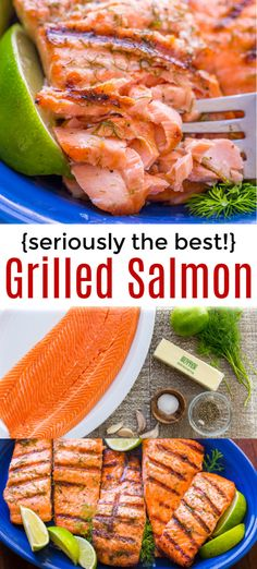 grilling recipes Grilled Salmon with garlic lime butter is the BEST grilled salmon recipe youll ever try! The crisp and flaky texture mixed with the garlic lime butter is simply irresistible. Best Salmon Recipe, Grilled Salmon Recipes, Grilled Seafood, Grilled Fish, Fresh Salmon Recipes, Tilapia Recipes, Grilling Recipes, Seafood Recipes, Cooking Recipes