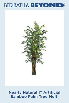 Enhance your interior paradise with the Nearly Natural Artificial Bamboo Palm Tree. With silky, lush greenery presented in a simple black planter, this simple, life-like accent would look perfect in an enclosed patio, living room or office.