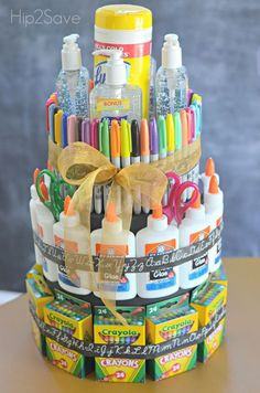 "diy School Supplies cake - DIY School Supply ""Cake"" (Back to School Gift Idea) Donate School Supplies, School Supplies Cake, Teacher Supplies, Kindergarten School Supplies, Back To School Supplies, Teacher Supply Cake, Teacher Cakes, Apreciação Do Professor, Homemade Gifts"