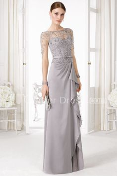 $106.09-Beautiful Sheath  Beaded Bateau-Neck Jersey Grey Long Mother of the Groom Dress with Long-Sleeves. http://www.ucenterdress.com/sheath-long-sleeve-floor-length-beaded-bateau-neck-jersey-prom-dress-pMK_300837.html.  Tailor Made mother of the groom dress/ mother of the brides dress at #UcenterDress. We offer a amazing collection of 800+ Mother of the Groom dresses so you can look your best on your daughter's or son's special day. Low Prices, Free Shipping. #motherdress