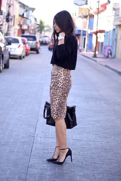 leopard skirt and black crop top