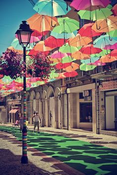 Lots of color for lots of shade! rainbow umbrellas