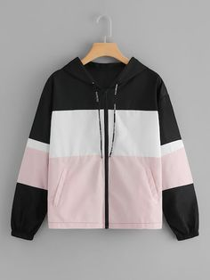 Shop Zip Up Hooded Colorblock Jacket at ROMWE, discover more fashion styles online. Designer Kurtis, Pretty Outfits, Cool Outfits, Trendy Hoodies, Crop Top Outfits, Teen Fashion Outfits, Cute Jackets, Kurta Designs, Teenager Outfits