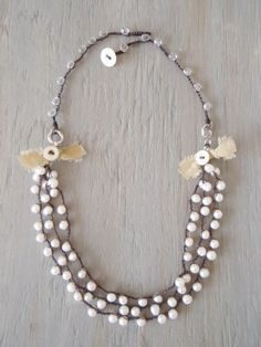 Freshwater pearl crochet necklace  'Shabby Country by slashKnots, $105.00