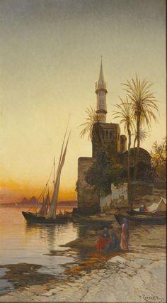 Hermann David Salomon Corrodi (1844-1905) Le long du Nil, Egypte Huile sur toile signée en bas à droite 55 x 32 cm  - Galerie Ary Jan