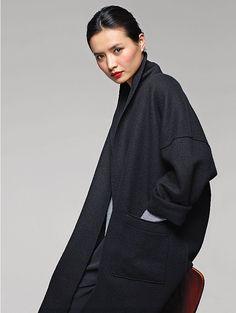 30 years of Eileen Fisher  Kimono Knee-Length Coat in Boiled Wool