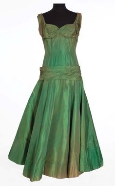 """Iridescent green stiff silk gown worn by Jane Withers as """"Vashti Snythe""""in Giant (1956)"""