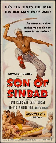 "Son of Sinbad (RKO, 1955). Insert (14"" X 36""). Fantasy. Starring Dale Robertson, Sally Forrest, Lili St. Cyr, Vincent Price, and Mari Blanchard. Directed by Ted Tetzlaff."