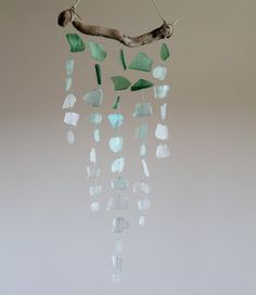 Driftwood & sea glass mobile