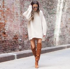7 fall outfit ideas to copy from this week's best fashion blogger Instagrams: over-the-knee boots and and oversized sweater dress