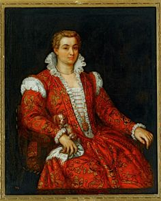8. Italian Renaissance woman (by Paolo Veronese, c. 1570) wearing a dress with a deep v and stomacher