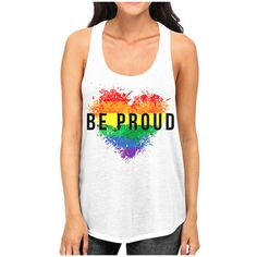 Women's Interstate Apparel Inc Junior's LGBT Pride Racerback Tank Top... ($9.99) ❤ liked on Polyvore featuring tops & tees