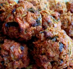 """If you want to make savory vegetarian meatballs, but don't want to use tofu or soy or any other type of """"fake meat"""", here's a recipe that I like to use. The meatballs are robustly flavored, and hold up pretty well if you want to add them to..."""