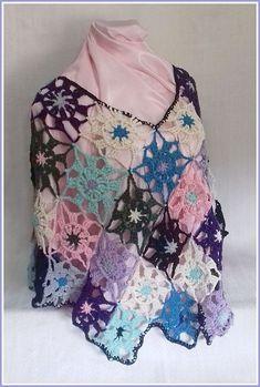 Mini Poncho de Crochê, feito em algodão, diferentes cores. Cores a escolher.