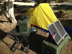How to build a simple portable power system for camping or prepping! Takes solar/AC/DC in and puts AC or DC out. Can charge AA batteries for flashlights too.