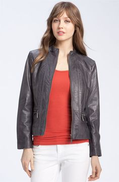 Bernardo 'Scuba' Seamed Leather Jacket (Petite) | Nordstrom