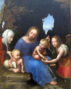Maestro della madonna della bilancia, madona col bambino, s.elisabetta e s.michele, 1510 ca. Pittura italiana del XVI secolo, Louvre