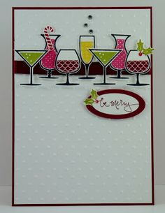tamps: S/U's Happy Hour, Warm Words Card and Papers: Cherry Cobbler, Whisper White Ink: Stazon Black, Cherry Cobbler, Daffodil Delight, Strawberry Slush, Lucky Limeade, Real Red, Old Olive Finishing Touches: Cherry Cobbler Quilted Satin Ribbon, Crystals Cool Tools: Big Shot, Sizzix Polka Dot E/Folder, Oval Punch, Large Oval Punch, Dble Sided Tape, Dimensionals, 2 Way Glue Pen