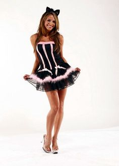 details about pink black kitty cat bustier corset dress halloween costume faux fur 0039 - Halloween Costumes Playboy