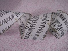 Ivory Burlap Ribbon with Black & Gold Music Notes, 5 YARDS, Music Decor, Wreaths