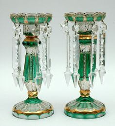 A pair of Bohemia glass lustre vases each with a scalloped bowl raised on a fluted stem green overlay gilt highlights faceted drops. Antique Lamps, Vintage Lamps, Bohemia Glass, Milk Glass Vase, Art Of Glass, Crystal Glassware, Fenton Glass, Glass Collection, Candle Holders