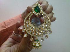 Chand Bali in gold, uncut polki earrings