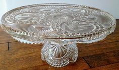German Hofbauer Byrdes Round Crystal Glass Hand Carved Pedestal Cake Stand Decorative glass cake stand Hand Cut Pressed Glass Hofbauer Byrds Bleikristall 24% Lead Crystal Bird design Footed Cake Plate 12 D x 5.4 Germany