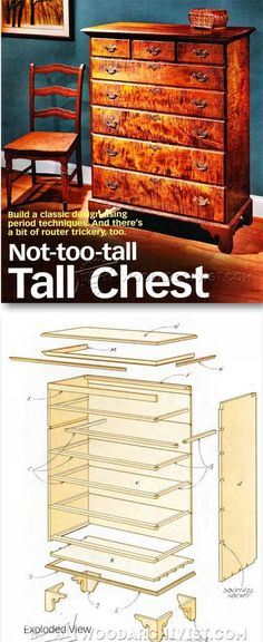Tall Chest of Drawers Plans - Furniture Plans and Projects - Woodwork, Woodworking, Woodworking Plans, Woodworking Projects Woodworking Tutorials, Woodworking Furniture Plans, Woodworking Box, Easy Wood Projects, Furniture Projects, Diy Furniture, Furniture Design, Wood Plans, How To Plan