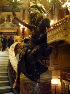 Garnier's Paris Opéra, Right Bannister Lamp Figure    Charles Garnier, Paris Opéra (now Palais Garnier), 1860-75 under Haussmann and Napoleon III