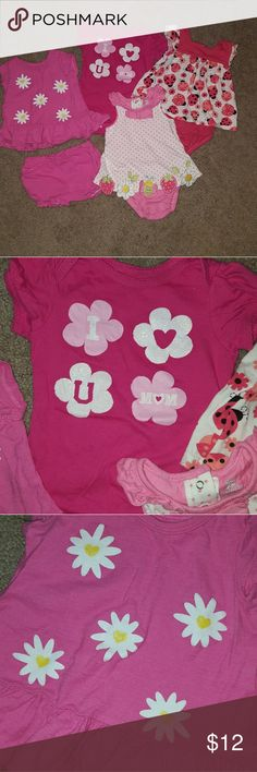 "6M girl bundle!! 4 pieces :) Pink daisy shirt with shorts, pink ""love mom"" onesie, and 2 ruffle romper/onesies with lady bugs, bees, and flowers. Smoke and pet free home.  *bundle and save* Koala Baby One Pieces Bodysuits"