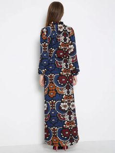 Multicolor Floral Ruffle Neck Tie Waist Long Sleeve Maxi Dress | abaday