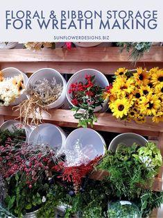Wreath Storage, Ribbon Storage, Craft Storage, Storage Ideas, Scrapbook Organization, Studio Organization, How To Make Wreaths, Crafts To Make, Art Studio Room