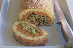 Sweet potato & leek roulade with Xmas stuffing. Made this as our feature vege dish Christmas 2012 and have kept it though it just needs a little more taste. Looks so good it's worth playing with :)