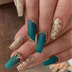 Nail Designs nail designs for fall nail designs for summer gel nail designs 2019 - Nagellack Design, Nagellack Trends, Teal Nails, Bling Nails, Gold Gel Nails, Green Nails, Hair And Nails, My Nails, Birthday Nail Art