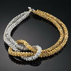 gold and silver twist, intricate beaded design of interwoven Glass and Crystal Beads Necklace!