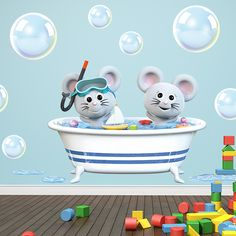 Vinilos Infantiles: Ratones en la bañera. Ratoncitos en la bañera, ideal para decorar baño. #infantil #decoración #vinilo #deco #baño #wc #ratón #animales #TeleAdhesivo